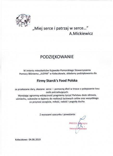 podziękowanie dla Stark's food polska